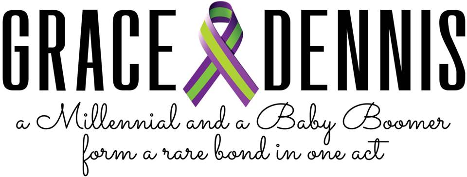 "White background with Black text in capital bold letters reading ""GRACE DENNIS"" with the Hemiplegic migraine ribbon in between the two names. The ribbon is purple with a lime stripe in the middle. Under the title is the play's tagline. It's in black cursive writing and reads ""a Millennial and a Baby Boomer for a rare bond in one act"""